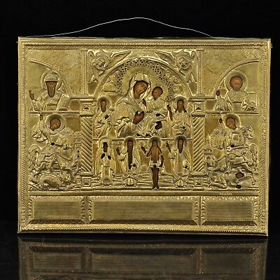 Antique Russian wood icon with metal cover, bronze 43 x 43 cm