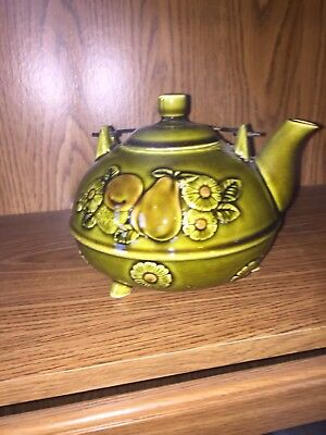Vintage Japan Teapot Lid Metal Handle Green With Fruit Flowers Pot Belly Style