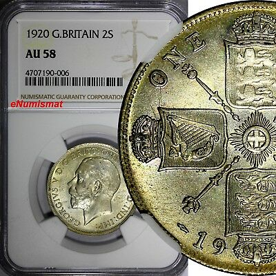Great Britain George V Silver 1920 Florin=2 Shillings NGC AU58 1st Date KM# 817a