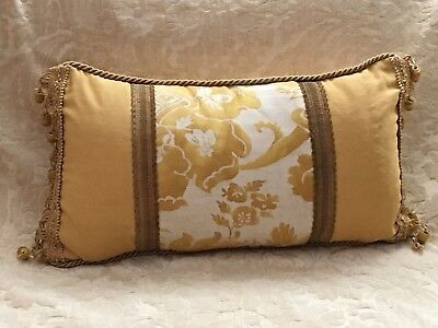 Fortuny Olimpia In Yellow And White Lumbar Pillow Scalamandre Damask Back