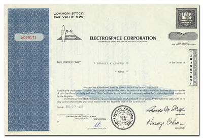 Electrospace Corporation Stock Certificate (Rocket Vignette) - Record-O-Fone