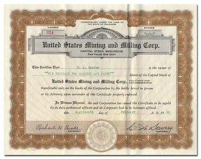 United States Mining and Milling Corp. Stock Certificate (Colorado)