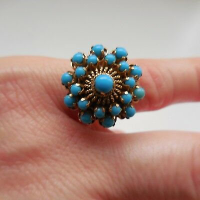 Antique Blue Persian Turquoise Harem Ring 15 ct Gold Size 6