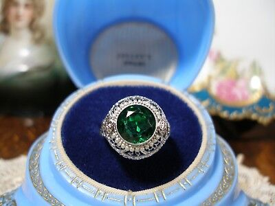 Antique 14K White Gold Filigree Emerald Green Seed Pearl Yg Roses Ring Art Deco