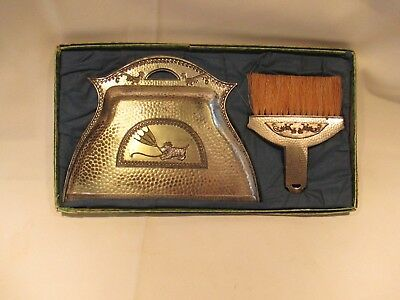 Vintage Scottie Dog & Rooster Metal Dust Pan Crumb Catcher Set Made in Japan