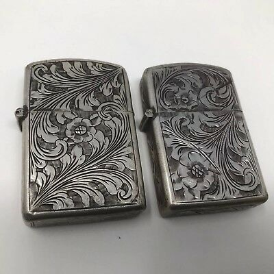 2 Vintage 1950's Sterling Silver Engraved Full Size Zippo Lighters