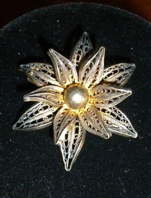 Antique Solid Sterling Silver Filigree Brooch ~ Flower Scarf Pin ~ Signed 1000