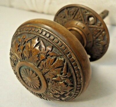 Antique Solid Bronze Door Knob And Back Plate Circa Late 1800's Nice!