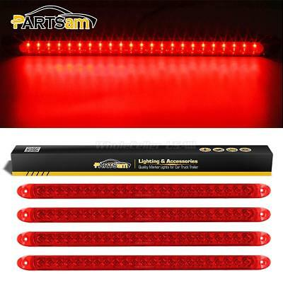 """4xRed 17"""" RV Truck Trailer Stop Tail Turn and 3rd brake Light 23LED Flange Mount"""