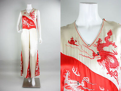 True Vtg 20s/30s Chinese Beach Pajamas Loungewear Silk Embroidered Dragons 1930s