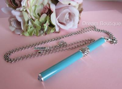 Brighton Aqua Charm Pen Necklace with Interchangeable Bead & Crystal NWT $64