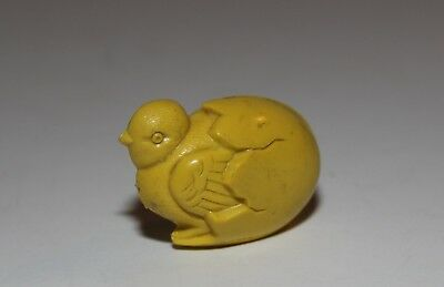 Vintage Yellow Hard Plastic Baby Bird Coming Out Of Egg Baby Rattle