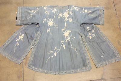 Antique Chinese Robe Blue Silk Raised Embroidery Qing Dynasty True Vtg Export