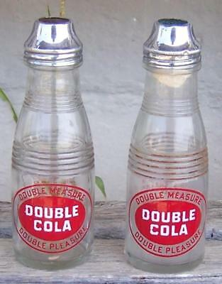 Pair of Vintage Double Cola Glass Bottle Shaped Salt Shakers with Chrome Tops