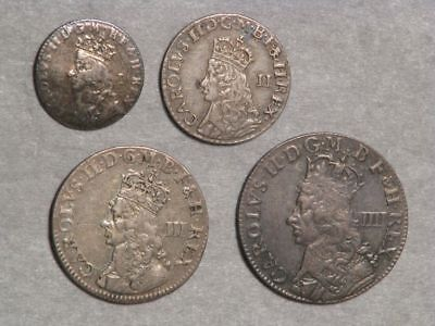 GREAT BRITAIN 1660-62(ND) 4 Pc. Maundy Set Charles II Silver VF
