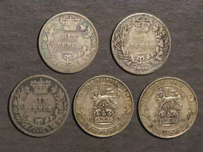 GREAT BRITAIN 1839-1914 6 Pence Silver - 5 Dates/Coins