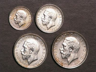 GREAT BRITAIN 1911 George V 4 Pc. Silver Maundy Set Choice Proof-Like