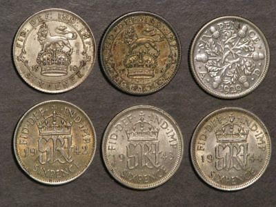 GREAT BRITAIN 1918-1944 6 Pence Silver - 6 Dates/Coins