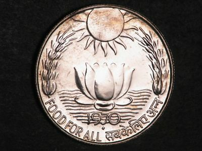 INDIA 1970 10 Rupees FAO Silver Choice P/L BU