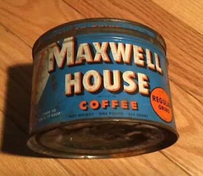 Vintage Metal Maxwell House Coffee Can One Pound Can