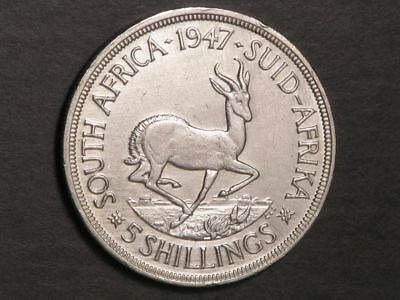SOUTH AFRICA 1947 5 Shillings Silver Crown XF-AU