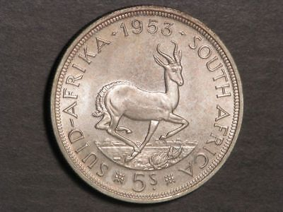 SOUTH AFRICA 1953 5 Shillings Silver Crown BU