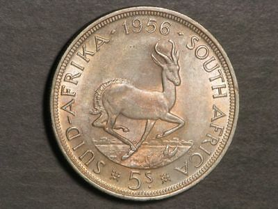 SOUTH AFRICA 1956 5 Shillings Silver Crown UNC