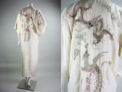 True Vtg Chinese Export Robe 1930s 30s Dragons Couching Embroidery Silk Jacquard