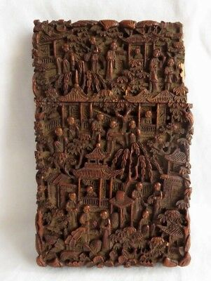 ANTIQUE 19TH CENTURY 1880s CHINESE DEEPLY CARVED WOOD CARD CASE DAMAGE TO LID