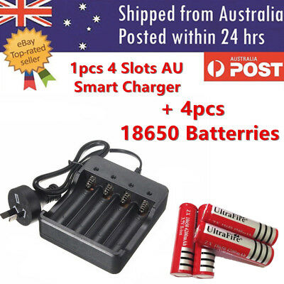 4x 18650 3.7V Li-ion Rechargeable Battery + 1 4 Slots AU Smart Charger Indicator