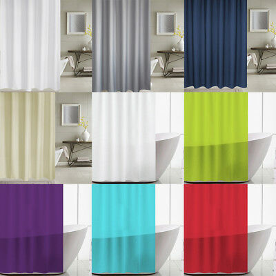 Waterproof Fabric Plain Bathroom Bath Shower Curtain Solid 71inch 12 Hooks Set