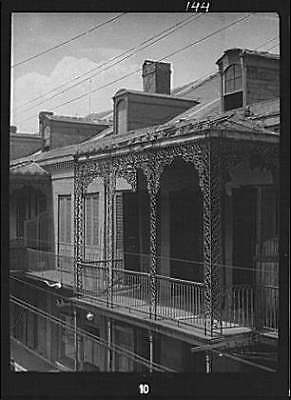Upper level balcony,wrought iron,St Peter Street,New Orleans,LA,A Genthe,1920 2