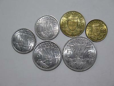 Reunion French Republic Mixed 20 10 5 2 1 Francs Unc World Coin Collection Lot