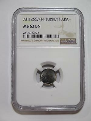 Turkey Ottoman Empire Ah1255 /14 Para Type Ngc Ms62? World Coin Collection Lot