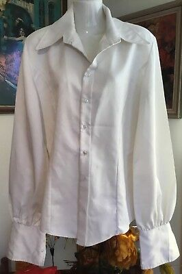 Fabulous Tailored 70s Glam Rock costume pop star White Satin Wide Collar Shirt M