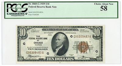 1929 Fr.1860-G $10 U.S. (Chicago, IL) Federal Reserve Bank Note - PCGS Ch.AU 58