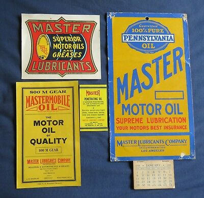 master mobile oil co 1933 calendar  ,decal and labels