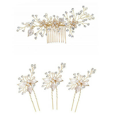 Women gold rhinestone pearl hair comb hair clip bridal wedding hair accessory FL