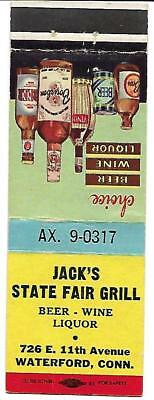 Jack's State Fair Grill, Waterford Ct Matchcover