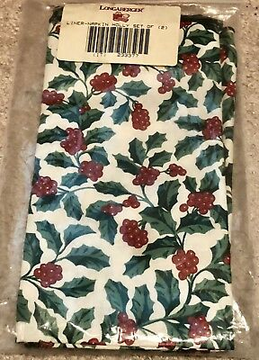 Longaberger Basket Set of 2 Fabric Napkins - Traditional Holly in Pkg 233377