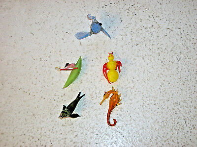 5 Miniature Hand Blown Glass Figurines Spider Seal, Man in Canoe, Fish, Seahorse