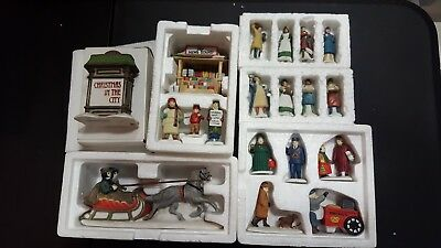 Lot of Department 56 Heritage Village People, News Stand, Sleigh Ride
