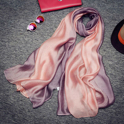 Women Elegant Long Scarves Mulberry Silk Gradient Scarf Shawls Beach Scarf LG