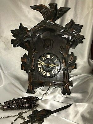 Vintage MIKEN BLACK FOREST STYLE CUCKOO CLOCK Eagle For Repair or Parts JAPAN
