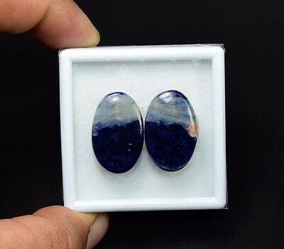 26.50 Cts. 100% Natural Pair Of Multi Sodalite Oval Cabochon Loose Gemstones