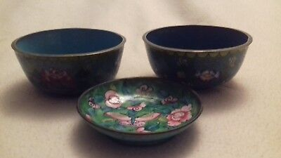 Pair of old cloisonne bowls and a Canton enamel dish