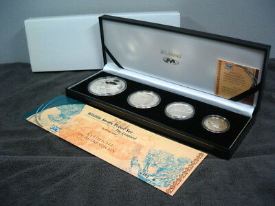 [silver] [rare] south africa 2004 leopard wild life proof silver 4coin set UNC
