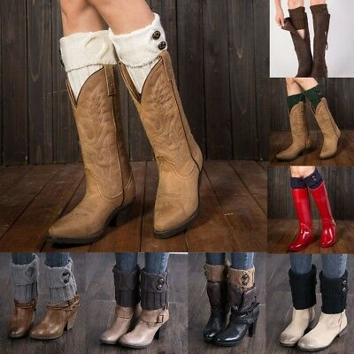 Women Winter Knit Leg Warmers Button Crochet Leggings Slouch Boot Socks Cover