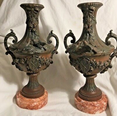 Stunning Pair of Victorian Spelter Vases / Urns Incredible Details and Marble Ba