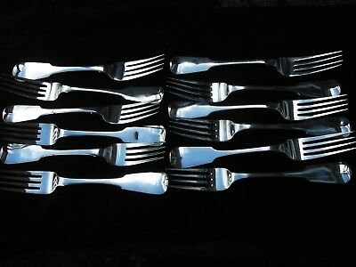 1814 top quality set of 12 heavy Georgian IRISH table forks by J Scott , 855gram